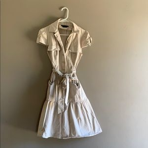 Bcbgmaxazria khaki cap sleeve dress